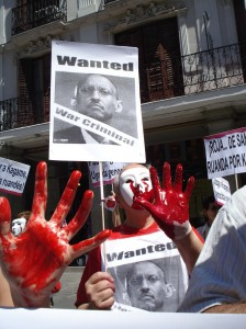 Spanish protest against the presence of Paul Kagame in Spain back in 2010.