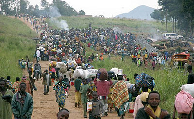 Civilians fleeing fighting in Eastern Congo