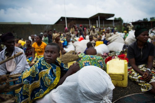 Displaced Congolese who found refuge in a Monusco protected location in Goma - Picture Bloomberg.
