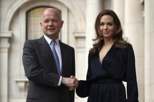 UK Secretary of State for Foreign Affairs William Hague and UN Ambassador of goodwill and Actress Angelina Jolie
