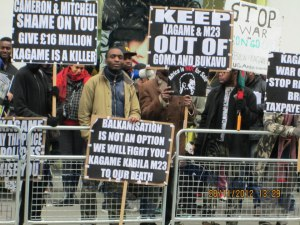 During a protest of mainly Congolese staged on 28.11.12 at the diplomatic representations of Rwanda and Democratic Republic of Congo in London days after the rebel group M23 had occupied Goma.