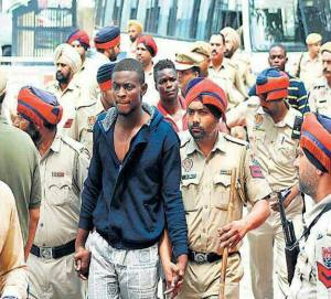 Some of the Congolese students arrested in India on Saturday 15/06/2013